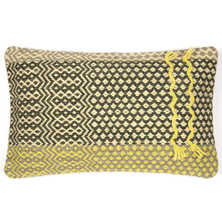 Hand woven cushion large yellow