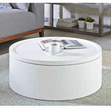 Drum rotating top storage coffee table white