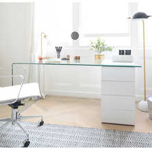Refract glass desk with drawers