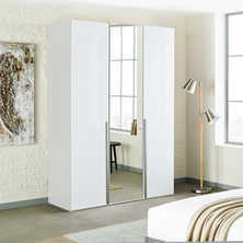 Loft three door wardrobe white gloss with mirror