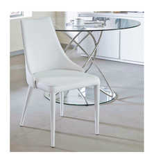 Tapered dining chair white with piping