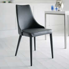 Tapered dining chair grey with piping