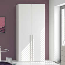 Loft two door wardrobe white glass