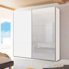 Loft two door sliding wardrobe white gloss with mirror