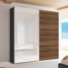 Loft two door sliding wardrobe walnut and mirror