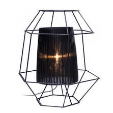Wire cage table lamp black