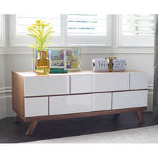 Brick TV unit compact white and walnut