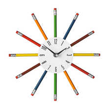 Colour pencil wall clock