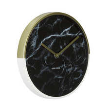Dual tone marble wall clock black and gold