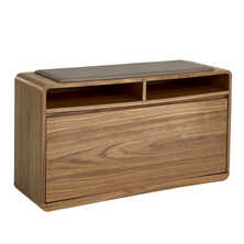 Zapato shoe cupboard walnut with seat stone faux leather