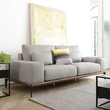 Malmo leather three sofa light grey