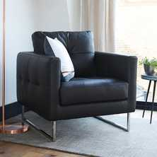 Paris leather armchair black