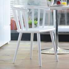Nimes beech wood dining chair white
