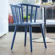 Nimes beech wood dining chair blue