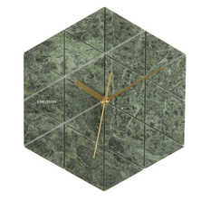 Hexagon marble wall clock green