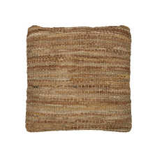 Woven leather cushion camel