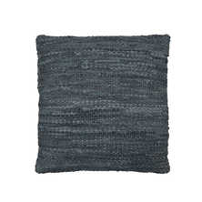 Woven leather cushion grey