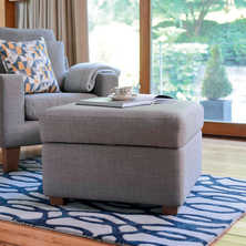 Ankara footstool with storage light grey