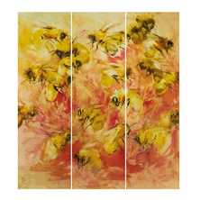 Bees and flowers handpainted artwork