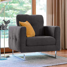 Paris armchair charcoal fabric