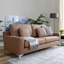 Oslo faux leather three seater sofa tan