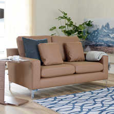 Oslo faux leather two seater sofa tan