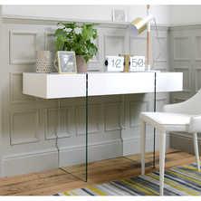 Treble console table white