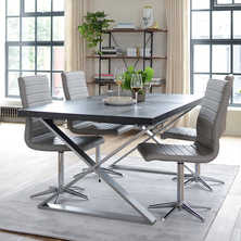 Crossed leg extending dining table chocolate
