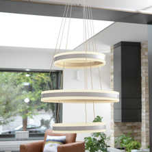 Ribbon LED triple ring pendant light