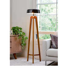 Ash wood floor light with black shade
