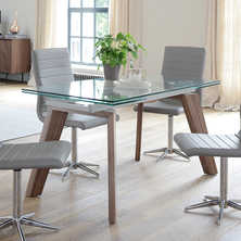 Panama glass extending dining table
