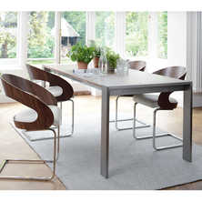 Nox double extending dining table walnut