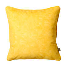 Mottled velvet cushion yellow