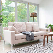 Oslo three seater sofa cream fabric