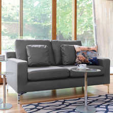 Oslo leather two seater sofa grey