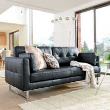 Paris leather three seater sofa jet ...