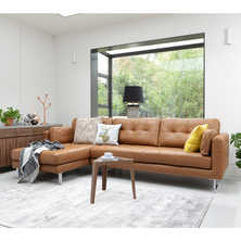 Paris leather left hand corner sofa ...