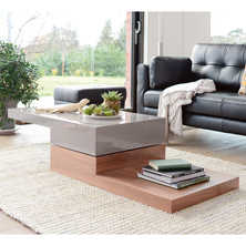 Verso coffee table stone and walnut