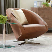 Cross base leather armchair tan