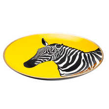 Zebra decorative plate yellow