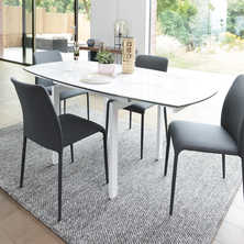 Lexington extending marble effect ceramic dining table