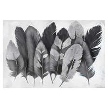 Metallic feather art grey and silver