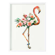 Floral flamingo art