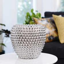Silver dot vase medium