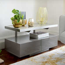 Floating compact TV unit stone and grey marble ceramic