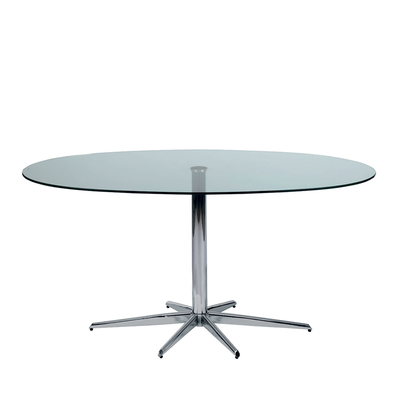Stellar base glass 6 seater dining table clear