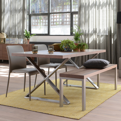 Crossed leg walnut 6 seater dining table brushed steel leg