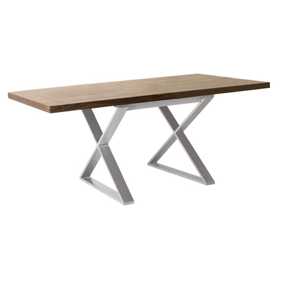 Attra walnut 6 seater dining table brushed steel leg