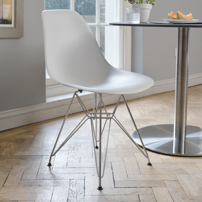 Eiffel Dining Chair With Metal Legs White