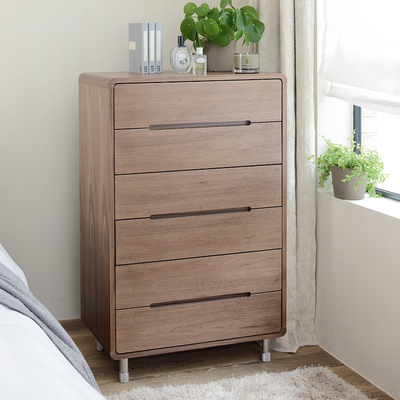 Notch tall chest of drawers walnut